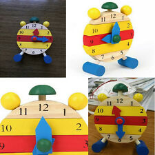 Detachable Baby Kids Clock Blocks Early Learning Building Development Wood Toys