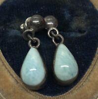 Vintage Sterling Silver Earrings 925 Larimar Dangle Blue Stone