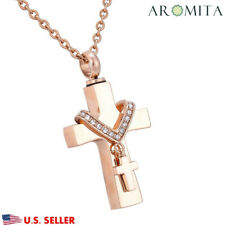 Premium Collet Cross Cremation Jewelry Keepsake Memorial Urn Ash Holder Necklace