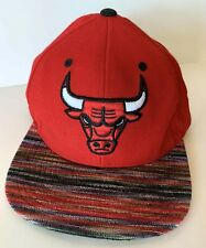 Chicago Bulls Mitchell & Ness Snapback Hat Cap Red Space Knit Visor NBA Logo 15