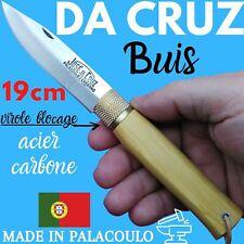 COUTEAU DA CRUZ PORTUGAL 19 CM BUIS LAME CARBONE TRANCHANT RASOIR FIL CUIR