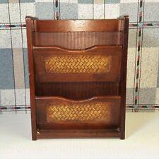 Wood Wall Pocket Cabinet Key Hooks Mail Holder Caddy Woven Wicker