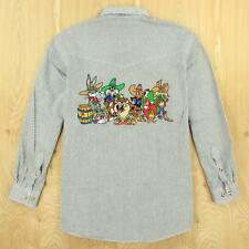 size MEDIUM, LOONEY TUNES stripe work shirt 90's vtg back embroidered patch
