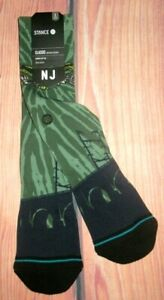MENS STANCE NJ SKATE GREEN CREW SOCKS SIZE LARGE (9/12)