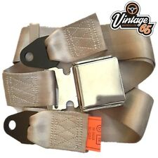 Classic Car Beige 2 Point Chrome Buckle Lap Seat Belt Adjustable Front Rear