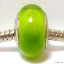 'LIME CAT'S EYE' Lime Green Shimmering Murano Glass European Bracelet Bead