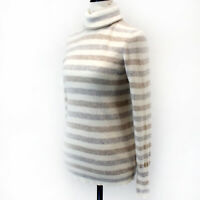 White+Warren 100% Cashmere White/Grey Striped Knit Turtle Neck Sweater Small