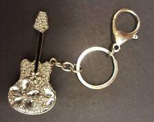 Guitar Key Ring Bag Charm Musical Diamante FREE ORGANZA GIFT BAG KEYRINGS UK
