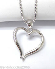 Kette Collier necklace, offenes Herz, heart Strass, mit Weißgold vergoldet