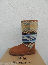 UGG CLASSIC TALL PENDLETON CHESTNUT LEATHER SHEEPSKIN BOOTS, US 5/ EUR 36 ~ NIB