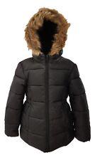 Girls Winter Coat Jacket Hooded School Fleece Warm Quilted Kids Black Faux Fur