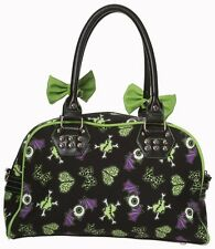 Banned Apparel Gothic Handbag Shoulder Bag Halloween Bat Brain Black Green Bows