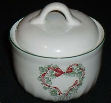Corelle Sugar Bowl CALLAWAY CHRISTMAS Ivy Red Ribbons Lidded