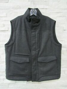 NEW Saks Fifth Avenue Collection $1,198 Charcoal Cashmere Field Vest L