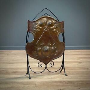 Attractive Antique Arts & Crafts Iron & Copper Pomegranate Embossed Fire Screen