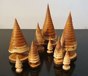 Wooden hand turned Yew Xmas Trees , set of 3