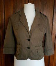 Miss Selfridge Khaki Military Utility Style 3/4 Sleeves Cotton Fitted Jacket 12