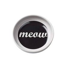 """Contemporary Modern Black & White Melamine Cat Meow Food or Water Bowl 6"""" Dia"""