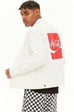 Coca Cola Graphic Mens Denim Jean Trucker Jacket Size S White SPELLOUT Logo