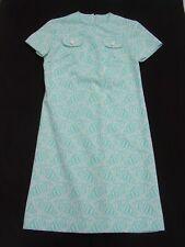 VINTAGE WOMENS DRESS 1960s Size 8 Turquoise White Print