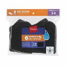 HANES WOMEN'S NO SHOW SOCKS BLACK 6 PACK SHOE SIZE 5-9