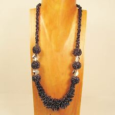 """28"""" Long Handmade Black Hematite Color Shell Seed Bead Necklace FREE SHIPPING!!"""