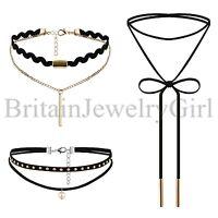 3PCS Set Gothic Vintage Chic Choker Velvet Collar Necklace for Women Girls Gift