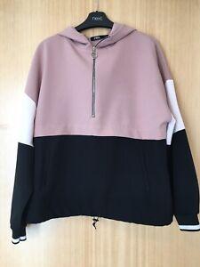 Ladies Zara Hoodie Sweatshirt Size Medum Pink Black Cream