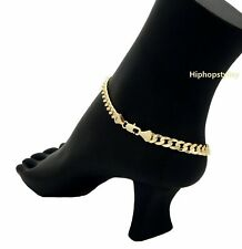 """10"""" CONCAVE CUBAN CURB LINK CHAIN QUALITY ANKLET BRACELET 14K ITALY GOLD PLATED"""
