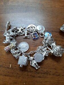 Vintage sterling silver charm bracelet charms