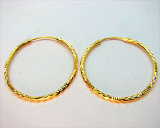 Excellent! 22K Thai Baht Solid Gold Hoop Earrings Size 1 Inch.!