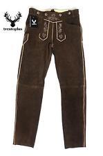 Trachten Lederhose lang braun Echt Leder Trachtenlederhosen Gr. 46-62