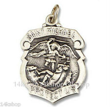 Sterling Silver Shield St. St Saint Michael Badge Pendant Large 925 Police Cop