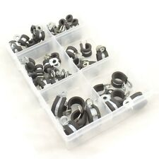Rubber Lined Zinc Plated Metal P Clips for Wire, Cable Assorted Box 45 Pieces