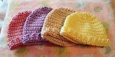 Light Weight Hand Crocheted Preemie Infant Beanie Cap 9 Inches Diameter Pink