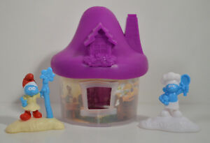 "2017 Purple Mushroom House 4"" McDonald's Playset #5 Smurfs Lost Village Movie"