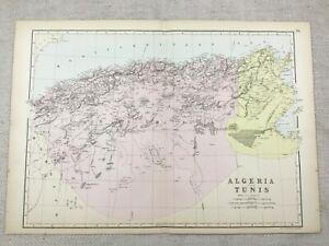 1891 Antique Map of Algeria Tunis North Africa Tunisia 19th Century Original
