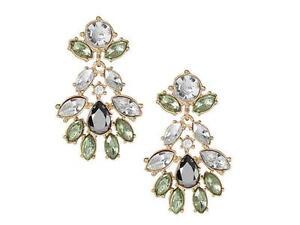 Banana Republic Intricate White Green Crystal Drop Earrings NWT