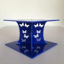 Butterfly Design Square Wedding/Party Cake Separators - Blue Acrylic