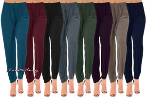 Ladies Straight Leg Summer Trousers Tapered Stretch Casual Elasticated Palazzos.