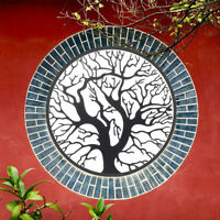 Black Tree of Life Metal Hanging Wall Art Round Sculpture Home Garden Decor 50C