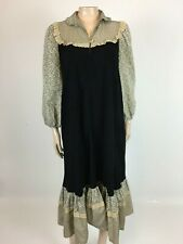 New listing Vintage 70's Women's Dress 7 Midi Unbranded Prairie Black Floral Long Party A20