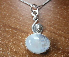 Rainbow Moonstone Necklace 925 Sterling Silver with Swirl Accent t39nh