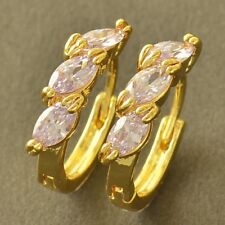 Appealing 9K Yellow Gold Filled Light Purple CZ Womens Hoop Earrings,Z5199