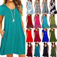 Women Summer Pullover Plain Baggy T-Shirt Dress Long Tops Ladies Loose Sundress