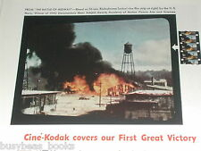 1943 KODAK advertisement, Cine-Kodak 16mm camera, filming the Battle of Midway