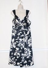 BLACK & WHITE SILK DRESS SIZE 18 EVANS SUMMER SPECIAL OCCASION WEDDING PARTY