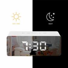 More details for mirror digital bedside led snooze alarm clock time temperature night mode clock