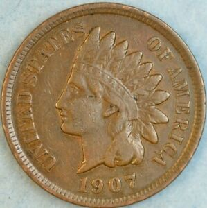 1907 Indian Head Cent Vintage Penny Old US Coin Liberty Full Rims Fast S&H 76789