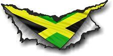Triangular Ripped Torn Metal Rip & Jamaica Jamaican Flag Motif Vinyl Car Sticker